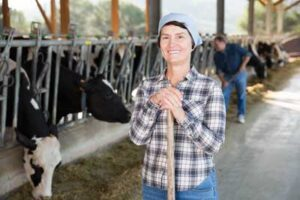 Lady Dairy Farmer with Cows
